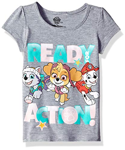 Paw Patrol Girls' Toddler Ready for Action Short Sleeve T-Shirt, Heather Grey, 3T