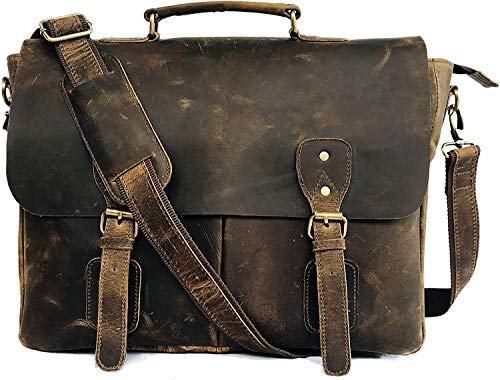 Cuero 16 Inch Retro Buffalo Hunter Leather Laptop Messenger Bag Office Briefcase College Bag (Tan Brown)