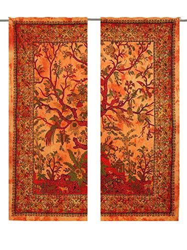 Orangeer Wandvorhang, Baum des Lebens, Vogel Bllosm, für Fenster, Zimmer, Tor, Raumteiler, 2-teiliges Paneel-Set, Baumwolle