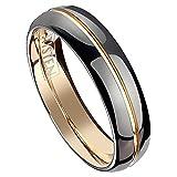 Piersando Band Ring Silber Bandring Ehering Partnerring Liebesring Damen Herren Titan Wolfram Schwarz Rosegold IP ohne Stein Rose Gold Größe 55 (17.5)