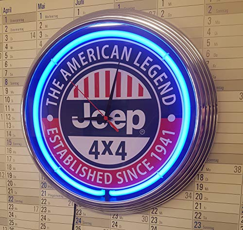 Neonhorloge Neon Clock Jeep 4X4. American Legend Garange SIGN wandklok verlicht met blauwe neon ringen. E.