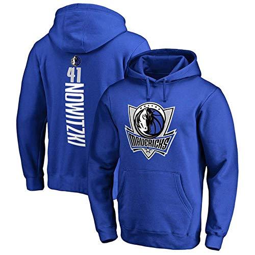 YSA Herren und Damen Basketball Hoodie NBA Dallas Mavericks 41# Nowitzki Jersey Kapuzenpullover Loose Basketball Sweatshirt T-Shirt