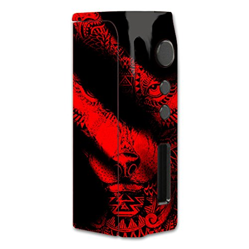 Skin Decal Vinyl Wrap for Pioneer4you iPV D2 75w Vape Mod Box / Aztec Lion Red