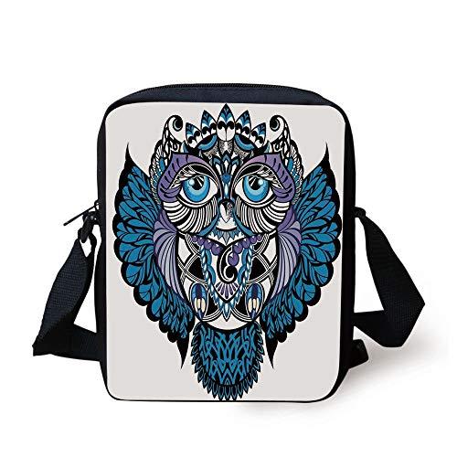 Tribal Decor,Owl Bird Animal with Paisley Tattoo Decor with Big Blue Eyes Lashes,Navy Blue and Purple Print Kids Crossbody Messenger Bag Purse