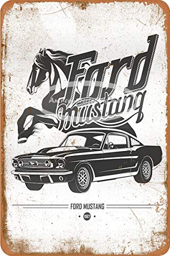 Ford Mustang 1967 Cartel de chapa vintage, cartel de cartel de metal, placa de pintura de hierro retro, decoración de pared artística, 12 × 8 pulgadas