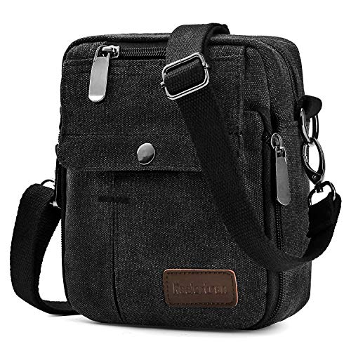 Koolertron Men Shoulder Bag Small Retro Canvas Satchel Zipped Unisex Lightweight Long Strap Crossbody Travel Messenger Bags (Black)