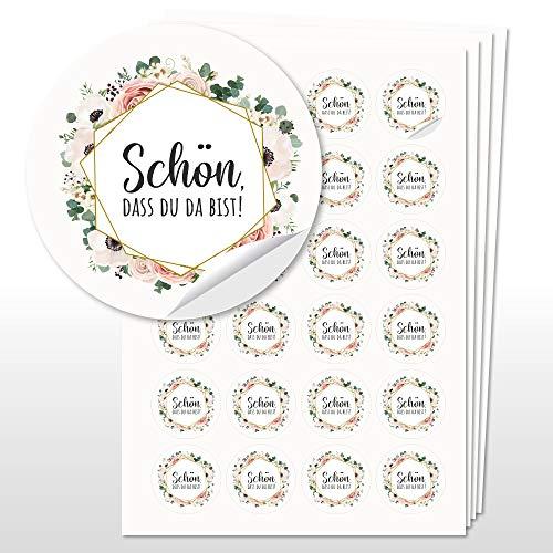 WEDDNG 96 Sticker Hochzeit Boho, Aufkleber Rund 4cm Durchmesser, Hochzeit Gastgeschenk Give Aways (Blumen2/Schön, DASS Du da bist)