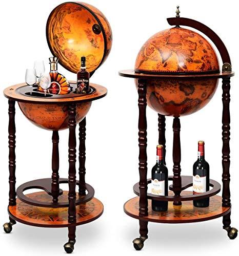 Knoijijuo Bar Barwagen, Minibar Globus Hausbar, Servierwagen Mit Antikem Design, Weinregal Auf Rollen, Tischbar Cocktailbar Barschrank Globus,Braun