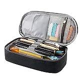Estuche para lápices de RAGZAN de gran capacidad para bolígrafos, organizador de papelería para niños y niñas, color negro