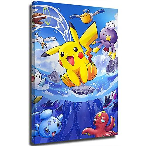 STTYE Póster de Pokémon y animales de mar con dibujos animados de Pokémon y cuadros de lienzo personalizados para la pared para imprimir, enmarcado de 50,8 x 76,2 cm