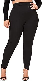 Women Plus size Black Leggings High Waist Tummy Control Ankle Length Skinny Pants