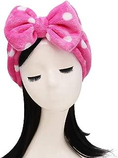 Shintop Sweet Super Soft Caroset Polka Dots Wash Cosmetic Headband Hairlace (Rose Polka dots)
