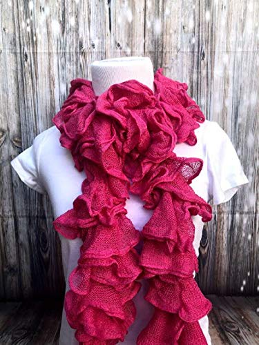 Handmade Knitted Ruffle Pink OFFicial mail order Scarf Bargain sale