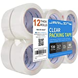 JARLINK Clear Packing Tape (12 Rolls), Heavy Duty Packaging Tape for Shipping Packaging Moving Sealing, 2.7mil Thick, 1.88 inches Wide, 60 Yards Per Roll, 720 Total Yards