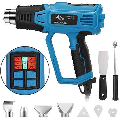 Pistola Aire Caliente con Pantalla LED, Tilswall 2000W Pistola de Calor 50-600 ℃ de 12 Modos Ajustables de Temperatura, con 4 Boquillas y 4 Raspadores para Soldar, Decapar, Secar y Descongelar etc