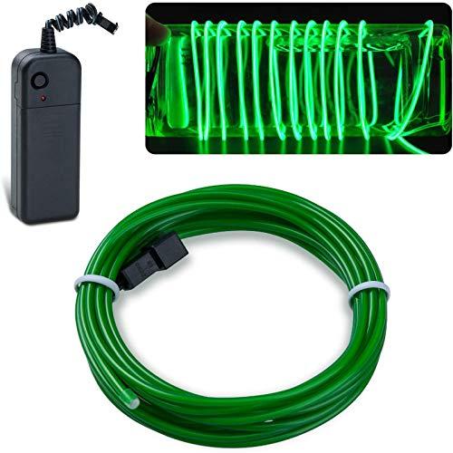 Kit de cables flexibles El 9,84 pies / 3 m Luces de cables EL portátiles Estroboscópicos brillantes Tira de luces LED con pilas superbrillantes para decoración de fiestas de bricolaje (verde)