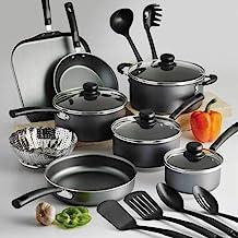 18 Piece Nonstick Pots & Pans Cookware Set Kitchen Kitchenware Cooking (Grey)