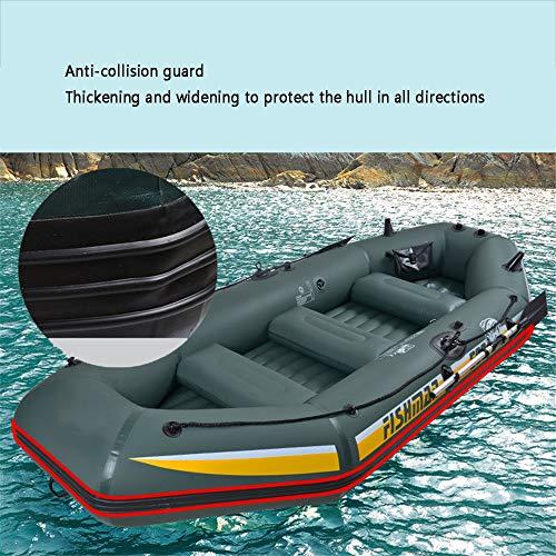 XFSD Verdicktes PVC-Kajak für den Außenbereich, 3/4-Personen-Schlauchboot mit Fischerboot, Gummiboot Hovercraft, mit Aluminium-Doppelrudern, motorisch montierbar, Schwimmweste + Aufbewahrungsrucksack - 5