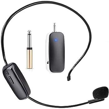 HUET - Auriculares inalámbricos UHF con micrófono, aparato 2 en 1 para guías turísticos, amplificador de voz, clases, entrenamientos, reuniones, etc.