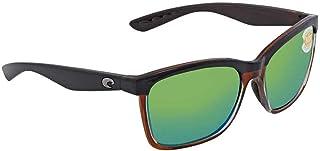 8ef0a55359 Costa Del Mar Anaa Sunglasses Shiny Black on Brown Green Mirror 580 Plastic
