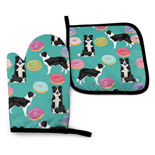 Guantes de Cocina y Juego de Mantel Individual Border Collie Dogs Donut Cute Donuts Designcon Silicona Antideslizantes para Cocinar, Asar(Juego de 2 piezas)