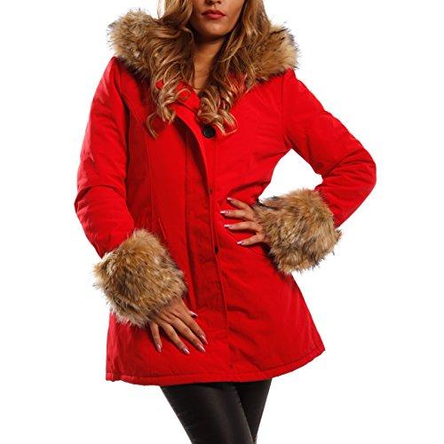 Young-Fashion Damen Winter Parka Kapuzen Jacke mit Kunstfell an Ärmeln & Kragen »Fake FUR«, Farbe:Rot;Größe:36/S
