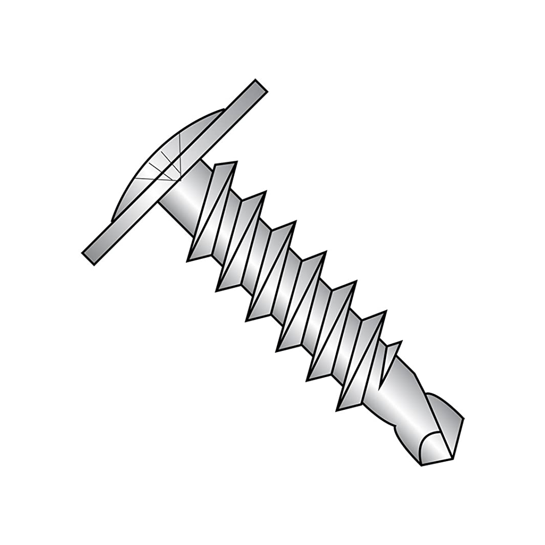 410 Stainless Steel Self-Drilling Screw, Plain Finish, Modified Truss Head, Phillips Drive, #3 Drill Point, #10-16 Thread Size, 1