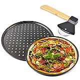 Elinala Bandeja Pizza, Bandeja Pizza Horno, Bandeja para Hornear Pizza Antiadherente Porosa de 2...