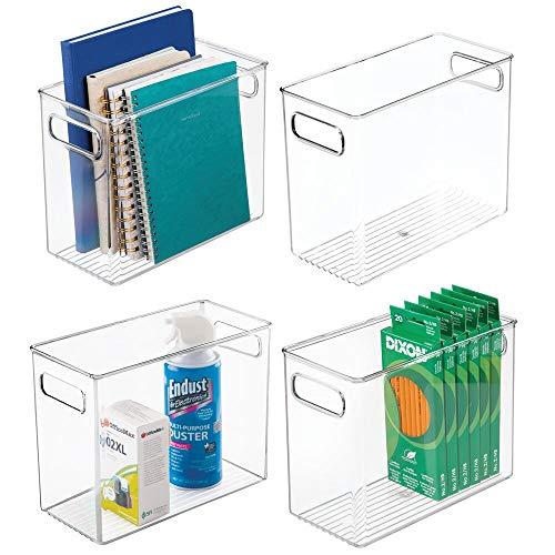 mDesign Set da 4 box in plastica per il riordino di oggetti in cucina, ufficio e bagno – Portaoggetti in robusta plastica – Pratico contenitore trasparente con manici integrati – trasparente