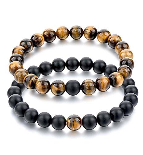 Souarts - 2 braccialetti unisex con perle di pietra naturale, 18-21 cm, elastico, per uomo e donna