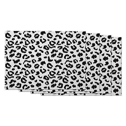 AOYEGO Leopard Print Placemats Set of 4 Art Animal Fur Pattern Black and White Spotted Wild Animal Skin Placemats for Dining Table 12X18 Inch Cotton Linen for Home Kitchen