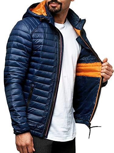 Indicode Herren Aguillar Steppjacke in Daunenjacken-Optik mit Abnehmbarer Kapuze und Stehkragen | gefütterte Winterjacke mit 5 Taschen warme Übergangsjacke Jacke für Männer Navy M