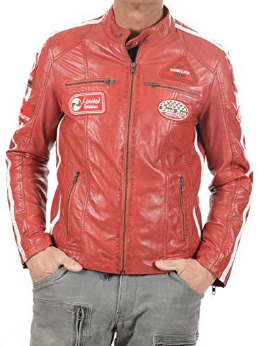 GEROME Veste en Cuir pour Homme modèle Ulrika Men | Blouson en Cuir véritable … (Rouge, 2XL)