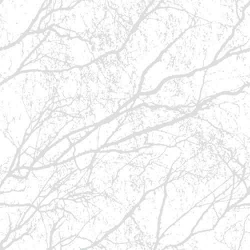 Wood 9713/decorama 4104–Papel pintado rama de árbol gris claro blanco