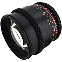 Rokinon CV85M-C 85mm t/1.5 Aspherical Cine Lens for Canon with De-Clicked Aperture and Follow Focus Fixed Lens