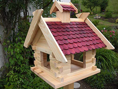 Vogelhaus Vogelhäuser-(V06)- Vogelfutterhaus Vogelhäuschen-aus Holz-DHL-XXXL Rot