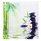 QWV Hochwertiger Duschvorhang Bamboo Orchid Steinmuster-wasserdicht Duschvorhang Anti-Fading Durable Duschvorhang (Color : Green, Size : A)