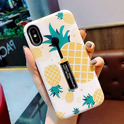 iPhone XR Case, Ebetterr Rugged Dual Layer Finger Strap Case Protective Phone Cover,Shockproof Slim Rubber Grip Holder Case, Finger Ring Band with Kickstand Case for iPhone XR 6.1 inch-Pineapple