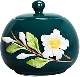 FTL&HONG Funeral urn Cremation Commemorative Box Peacock Green Large Capacity Ceramic Handmade Flower Small Capacity Gold ...