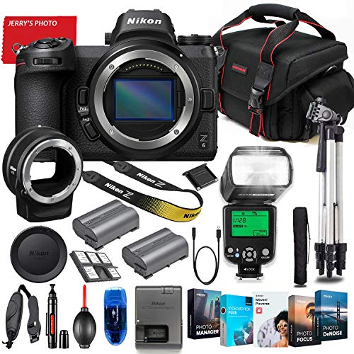 Nikon Z6 Mirrorless Digital Camera (Body Only) with FTZ Mount Adapter Bundle + Premium Accessory Bundle Including TTL Flash, Extra Battery, Photo/Video Software Package, Shoulder Bag & More