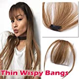 Clip on Human Hair Bangs with Temples Thin 5' Clip in Wispy Fringe Extensions Flat Air Fringe with Temples for Women One-piece #6 Light Brown