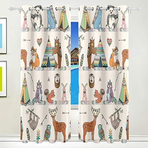 Redecor Cortinas Opacas para Ventana, decoración, diseño de Animales Tribales, con Estampado de Ciervo, 2 Paneles para Sala de Estar o Dormitorio