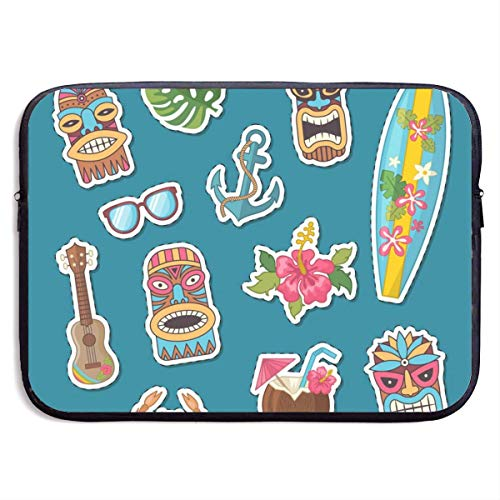 Cartoon Summer Travel Elements Stickers Set Laptop Sleeve Bag Case,Laptop Briefcase Soft Carring Tablet Travel Case,13 inch