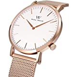 Welly Merck Women Luxury Swiss Movement Sapphire Crystal Analog Wrist Watch with Rose Gold Stainless Steel 18mm Mesh Interchangeable Strap 5ATM Water Resistant (Rosegold)