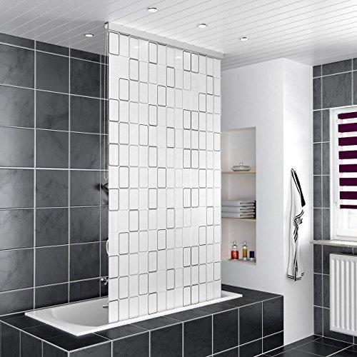 Homelux Duschrollo Duschvorhang Bad Deckenbefestigung Halbkassette Seitenzug Links oder rechts montierbar 140 x 240 cm Square