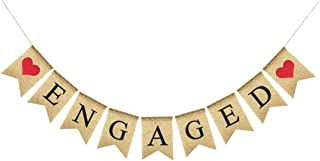 Uniwish Engaged Banner Burlap Bunting Garland Bridal Shower Party Decorations, Vintage Rustic Wedding Save The Date Photo Props