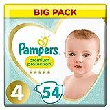 Pampers - Pannolini Premium Protection taglia 4 (8 – 16 kg) per la protezione delle pelli sensibili, 54 strati