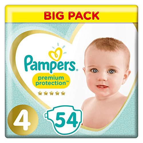 Pampers - Pañales Premium Protection Talla 4 (8-16 kg) Nuestro N° 1 para la protección de pieles sensibles, 54 pañales