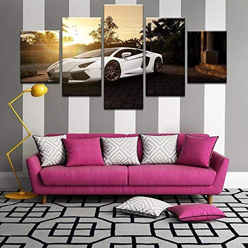 45Tdfc 5 Unidades Pictures Lamborgh Aventador White Supercar Sunset Painting Home Decor Modern Wall Art Canvas HD Prints Frame Modular Poster