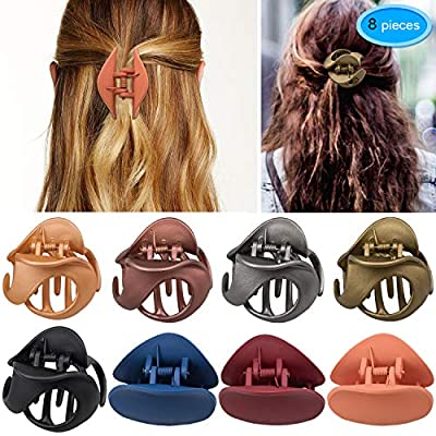 Hair Claw Clips 8 Colors, EAONE Stylish Jaw Clips Non Slip Hair Clip Clamps Styling Accessories Box Packaged for Women Girls, 8 Pieces